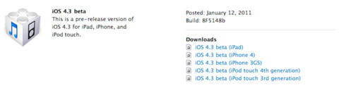 Apple ha liberado la beta 1 de iOS 4.3