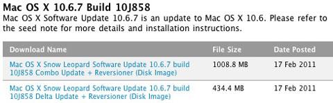 Mac OS X 10.6.7 ha sido enviada a los desarrolladores 8