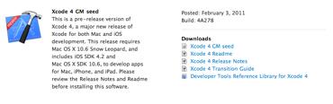 Apple publica la versión Golden Master de Xcode 4 2