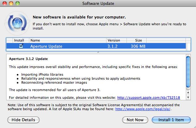Apple deja disponible para descargar Aperture 1.1.2 4