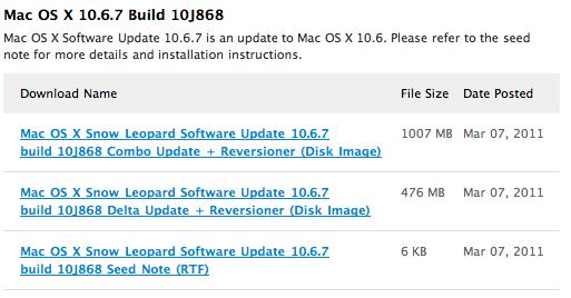 Apple envía la build 10J868 de Mac Os X 10.6.7  a los desarrolladores 1