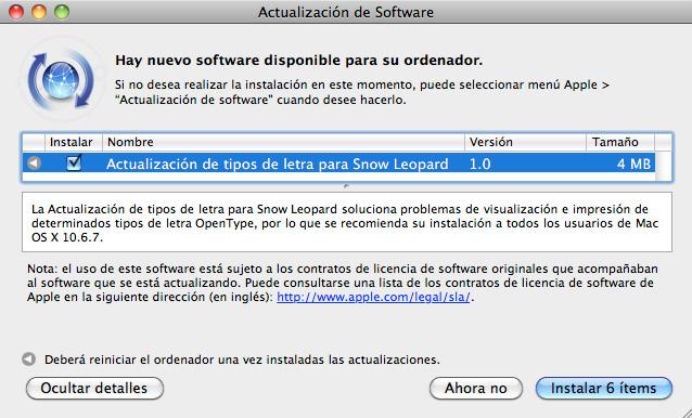 Actualización de tipos de letra 1.0 para Mac OS X Snow Leopard 1
