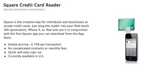 Apple venderá en su Store online el lector de tarjetas de crédito Square 1