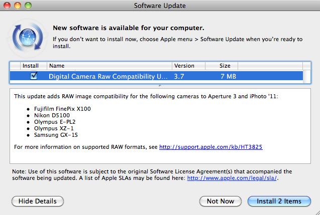Actualización 3.7 de compatibilidad RAW para cámaras digitales 1