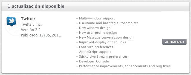 Descarga Twitter 2.1 para Mac OS X 1
