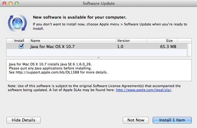 Java Update 9 para Snow Leopard y Java 2012-004 para OS X Lion 4
