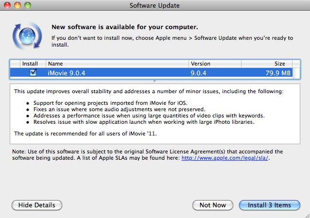 Actualizaciones disponibles de GarageBand 6.0.1 e iMovie 9.0.1 6