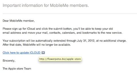 Usuarios de MobileMe comienzan a recibir correos falsos de iCloud