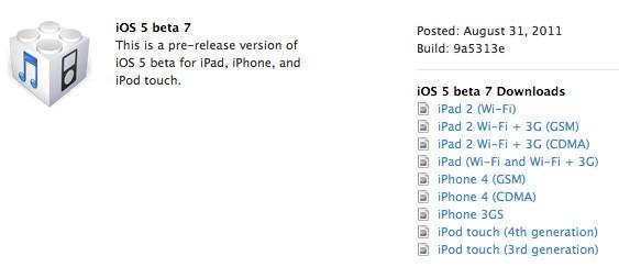Ya disponible para desarrolladores iOS 5 beta 7 1