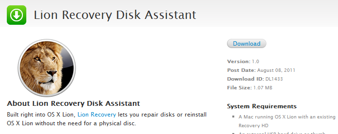 Apple presenta Lion Recovery Disk Assistant 1