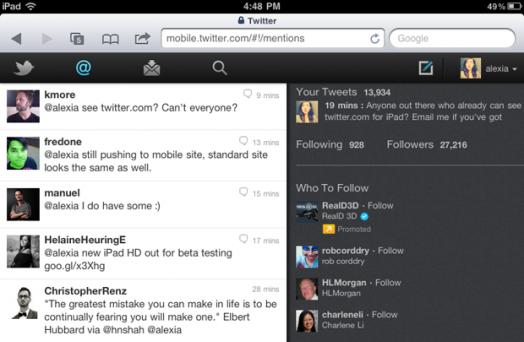 Nueva interfaz web de Twitter para el iPad 7
