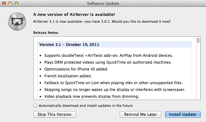 AirServer 3.1 para hacer streaming a tu Mac utilizando AirPlay 1