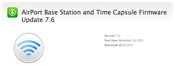 Firmware 7.6 para AirPort Base Station y Time Capsule 1