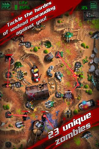 Descarga GRave Defense HD para iPad e iPhone, 20 niveles llenos de zombies  1