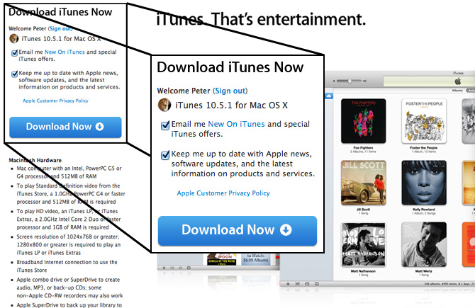 iTunes 10.5.1 con iTunes Match para Mac OS X y para Windows 2