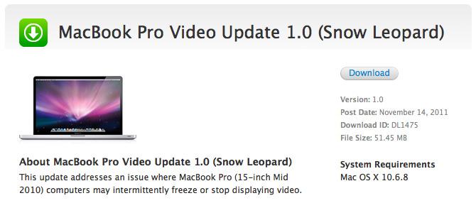 Actualización de video 1.0 para MacBook Pro con Mac OS X Snow Leopard 1