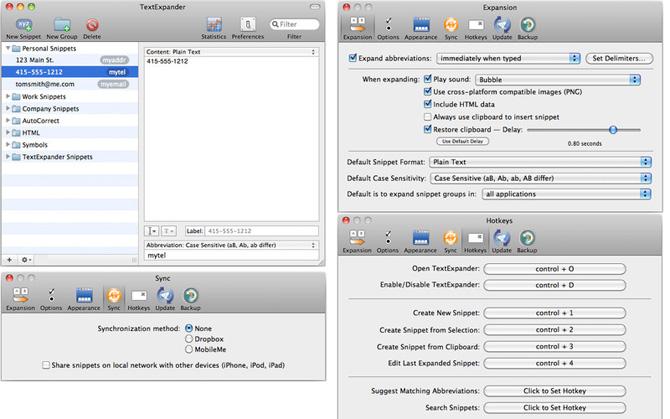TextExpander 3.4 para Mac OS X 1