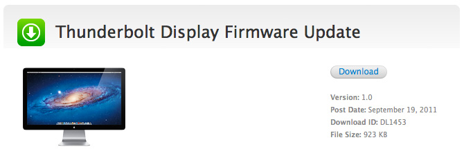 Firmware para Thunderbolt Display 1.0 1