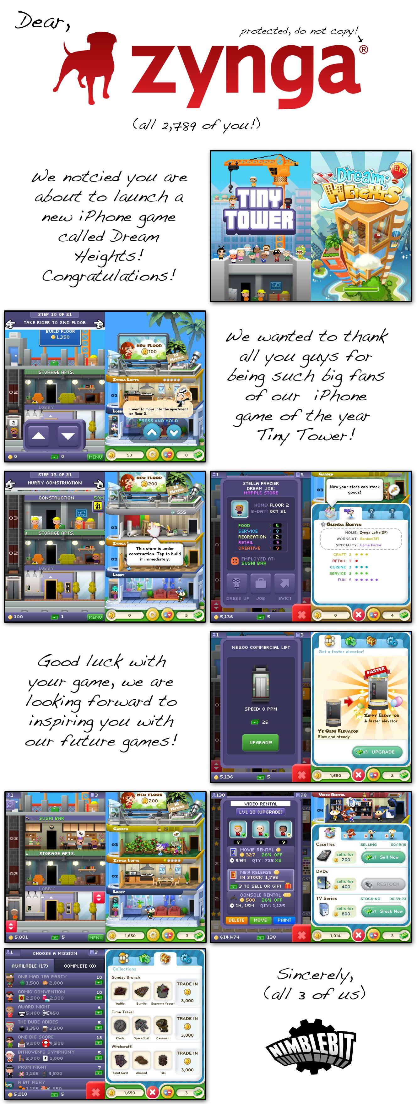 Creadores de Tiny Towers acusan de plagio a Zynga, por el juego Dream Heights 1