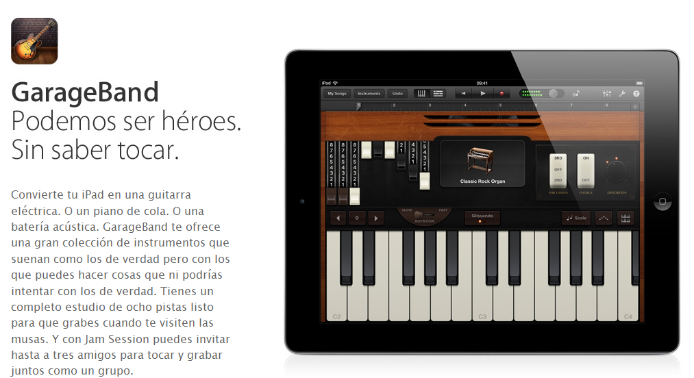 Demo en video de GarageBand para iPad 3