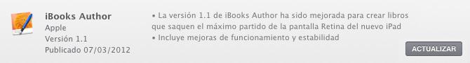 iBooks Author 1.1 con soporte para pantalla Retina Display del nuevo iPad 1