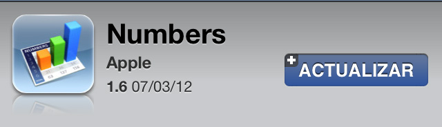 Numbers 1.6 para iOS con mejor rendimiento y soporte para pantalla Retina del nuevo iPad 1