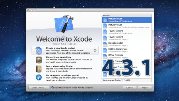 Xcode 4.3.1 con SDK para Mac OS X 10.7 Lion y iOS 5.1 1