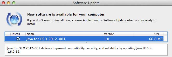 Actualización 7 de Java para Mac OS X Snow Leopard y Java 2012-001 para OS X Lion 2