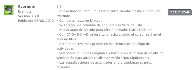 Evernote 3.3 con soporte para Mountain Lion y compartir notas en LinkedIn 1