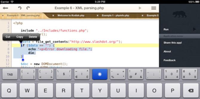 Kodiak PHP para escribir y ejecutar código en tu iPad sin conexión a internet 1