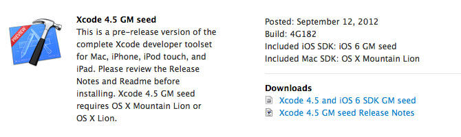 Descarga Xcode 4.5 GM para desarrollar apps para iOS 6 1
