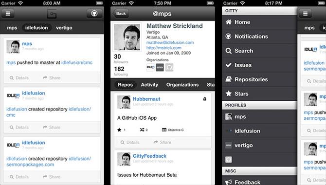GitHub para iPhone con Gitty