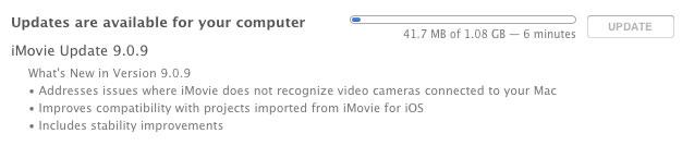 iMovie 9.0.9 para OS X ya reconoce las videocámaras que se conectan a una Mac 1