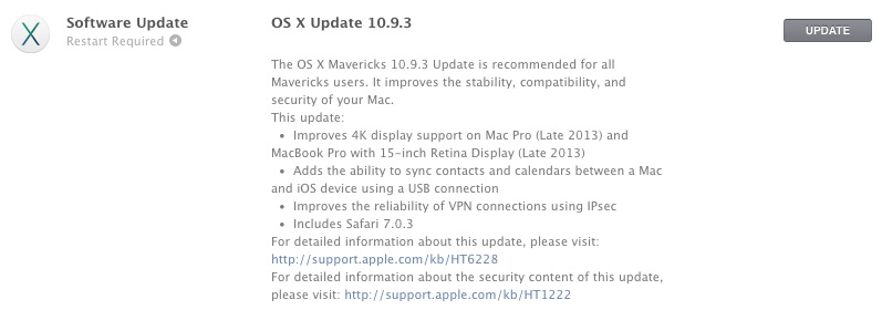 OS X Mavericks 10.9.3