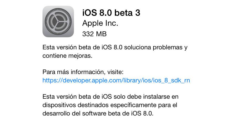 iOS 8.0 beta 3