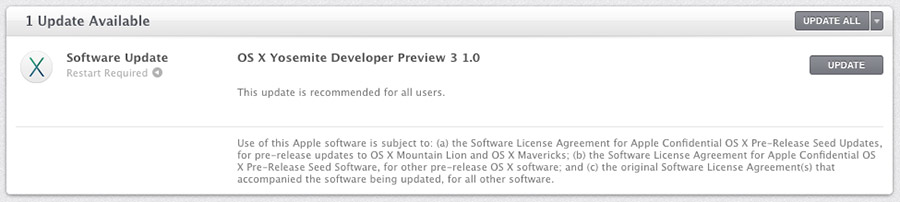 OS X Yosemite Developer Preview 3 1.0