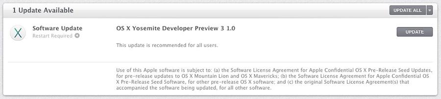OS X Yosemite Developer Preview 3 1.0