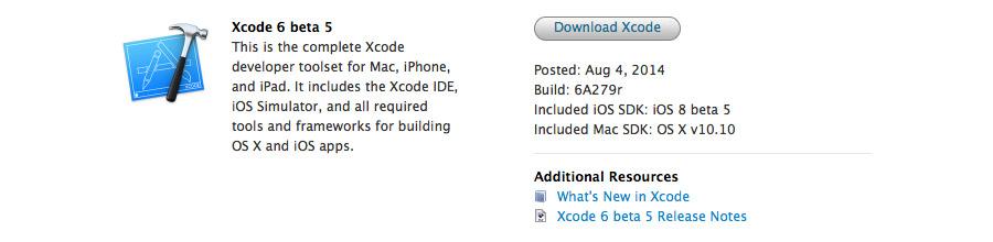 Xcode 6 beta 5