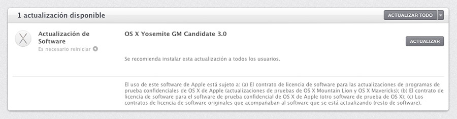 OS X Yosemite Golden Master 3.0