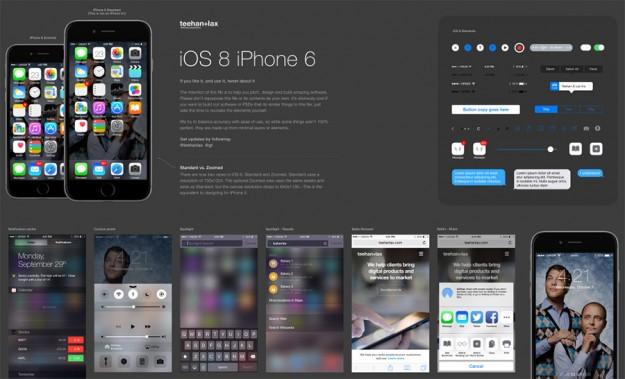 Plantilla de iOS 8 en Photoshop