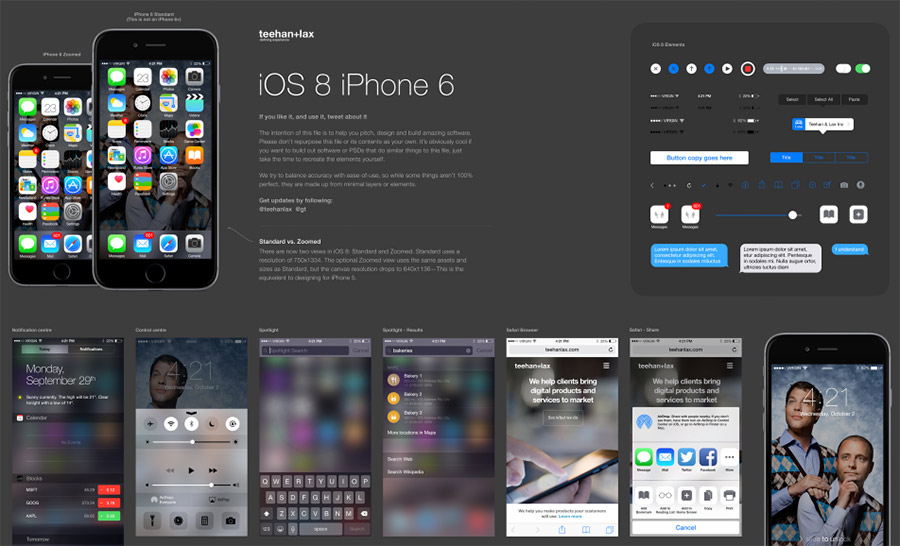 Plantilla de iOS 8 en Photoshop