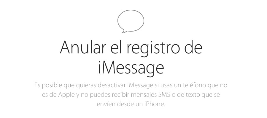 Anular registro de iMessage