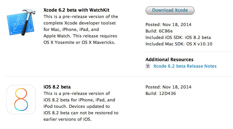 iOS 8.2 beta y Xcode 6.2 beta con WatchKit