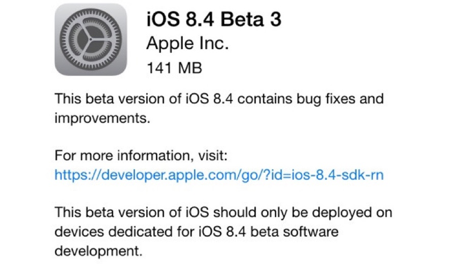 Tercera beta de iOS 8.4, lanzada por Apple 1