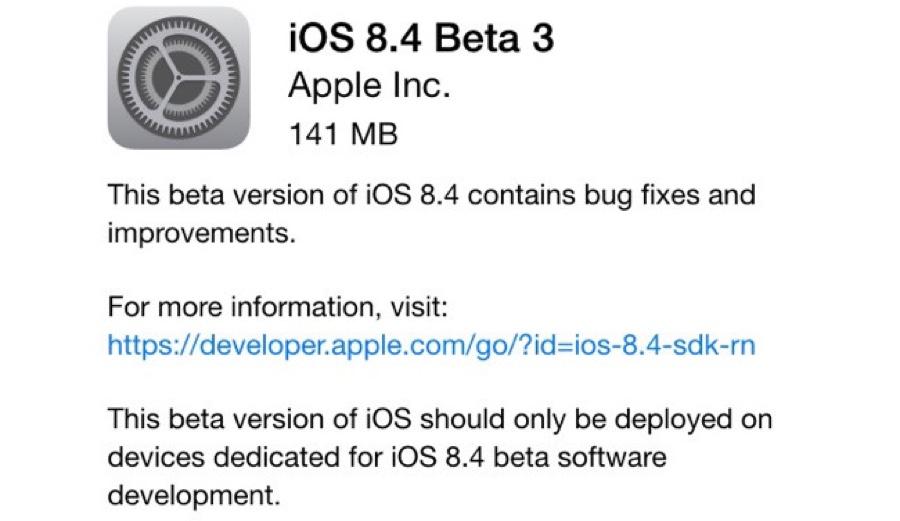 tercera beta iOS 8.4
