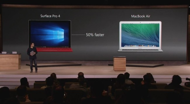 Microsoft: La Surface Pro 4 es 50% más poderosa que el MacBook Air 1