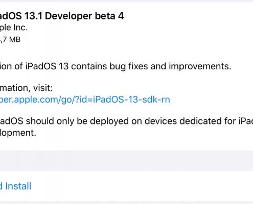 iPadOS 13.1 Beta 4