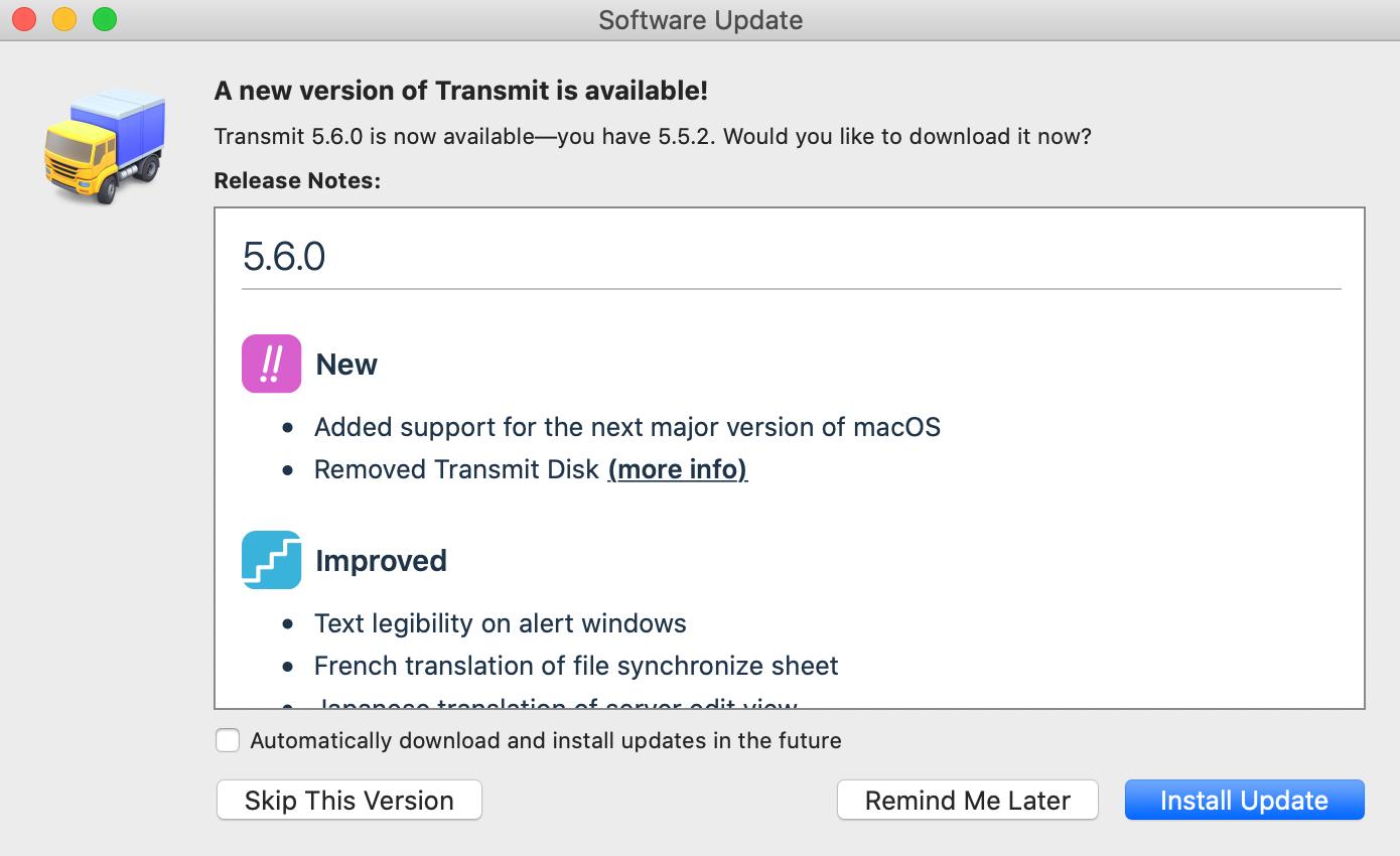 Transmit 5.6.0