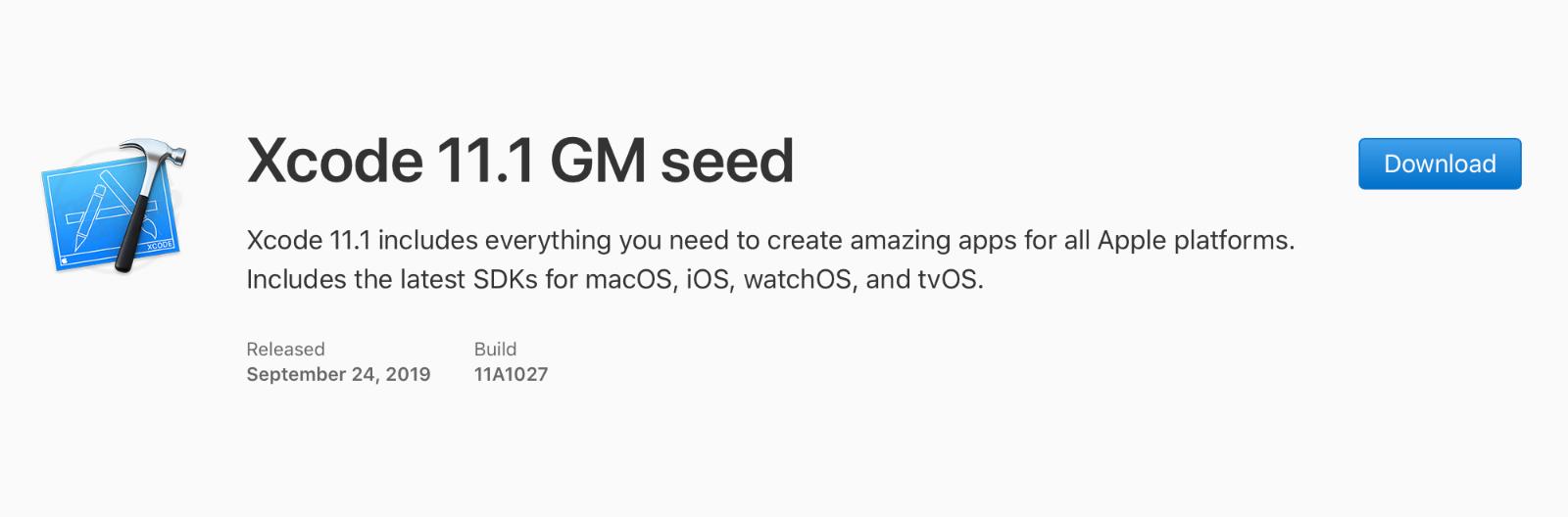 Xcode 11.1 GM