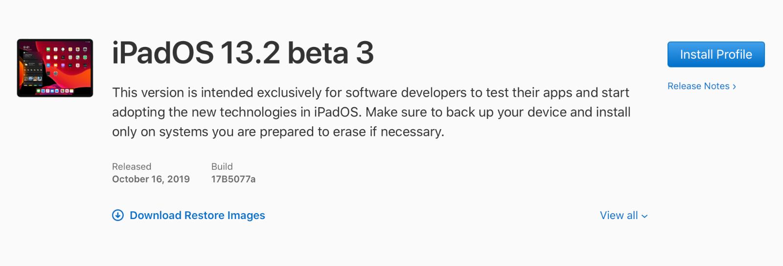 iOS 13.2 Beta 3, iPadOS 13.2 Beta 3, watchOS 6.1 beta 4 y tvOS 13.2 beta 3